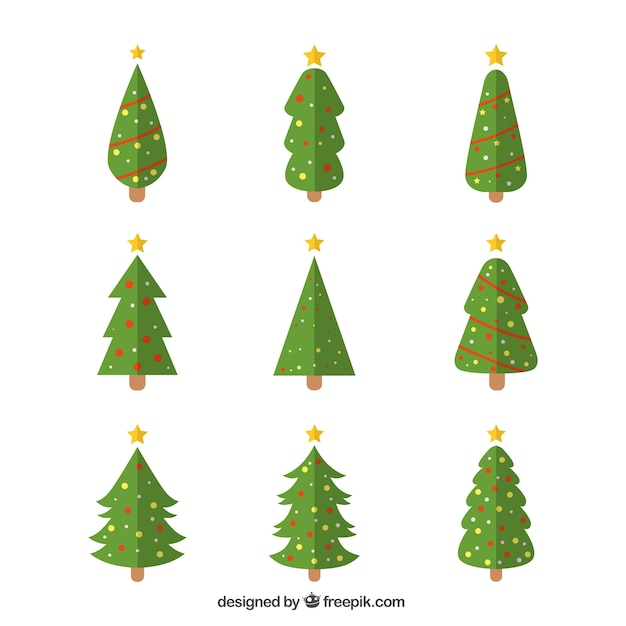 Decorative christmas trees in geometric style Free Vector