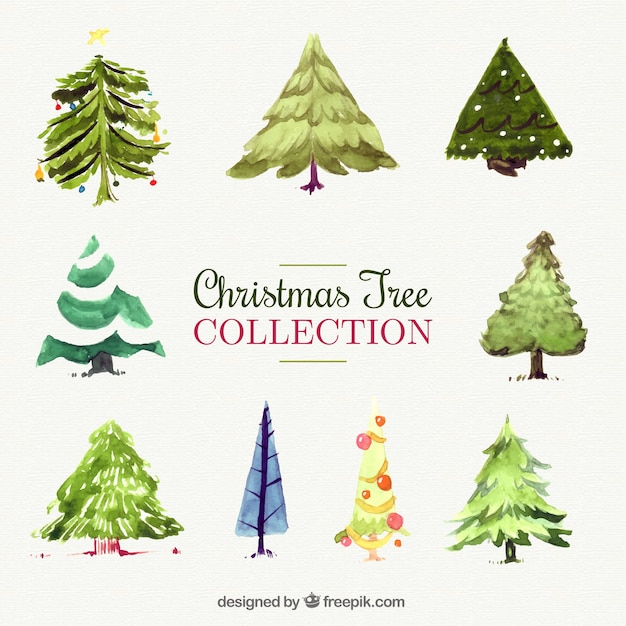 Decorative christmas trees painted with watercolor Free Vector