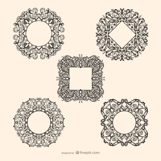 decorative circle and square framework vectors vector free download