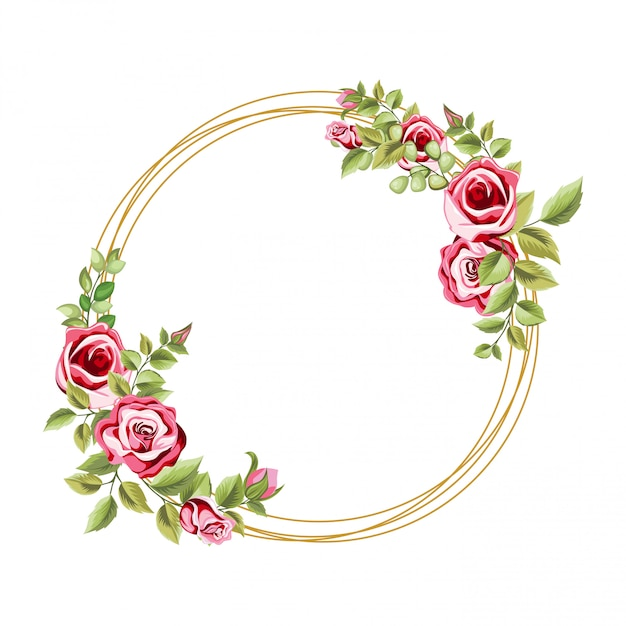 Decorative circle frame with floral and leaves ornament Premium Vector
