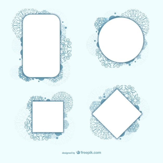 Decorative circle and square framework vectors Free Vector