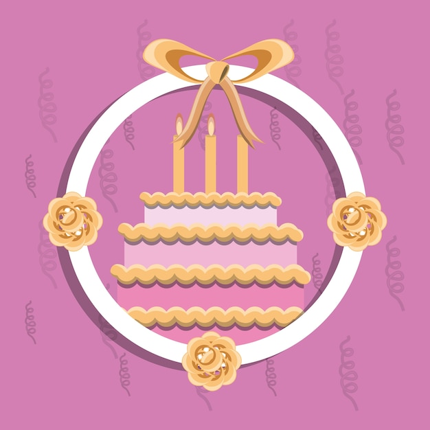 Decorative Circular Frame With Flowers And Birthday Cake Icon Over