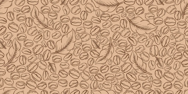 Decorative coffee beans and leaves seamless pattern. suitable for wrapping paper. Premium Vector