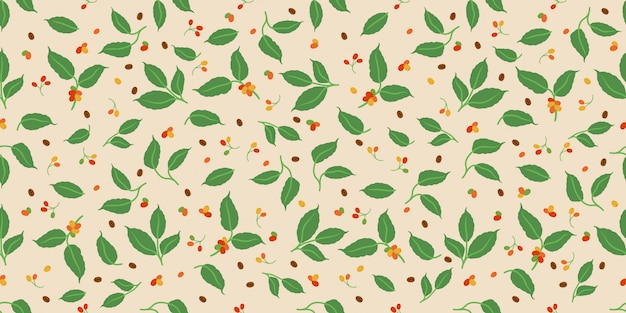 Decorative coffee berry and leaves seamless pattern Premium Vector