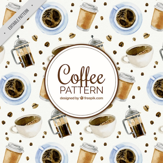 Decorative coffee pattern in watercolor\ style