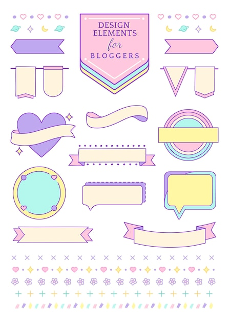 Decorative collecion for bloggers Free Vector
