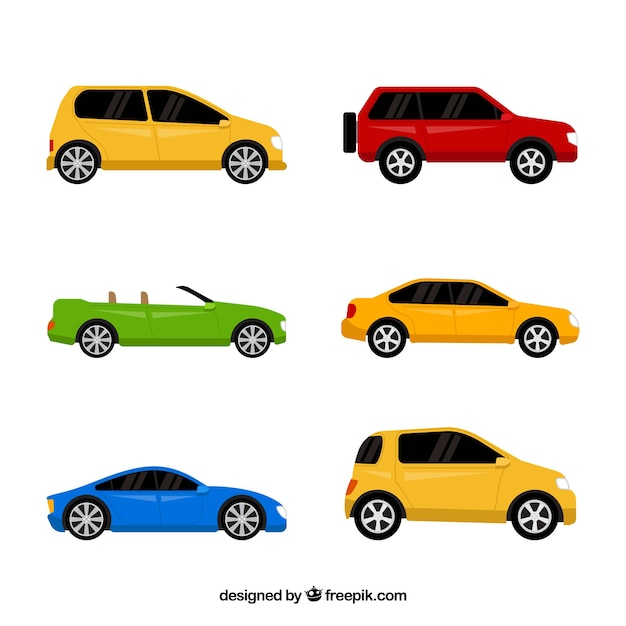 Decorative collection of colored vehicles Free Vector
