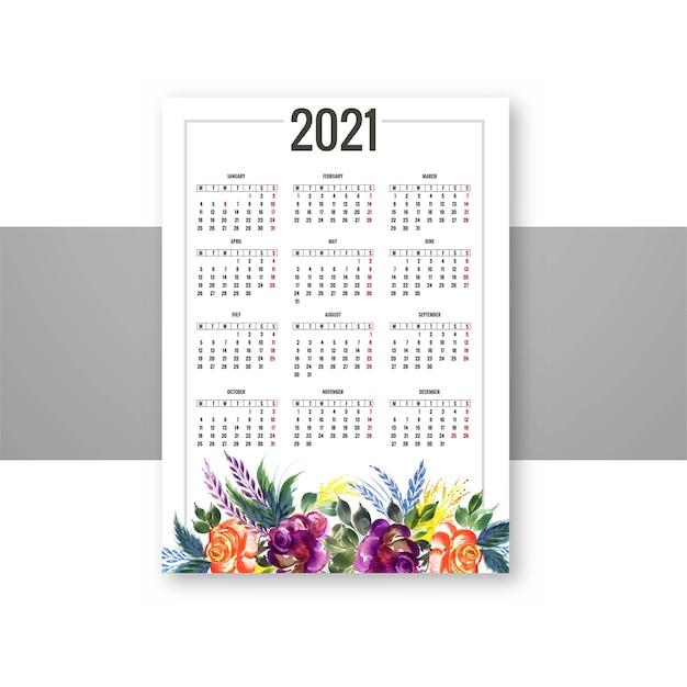 장식 화려한 꽃 2021 달력 디자인 무료 벡터