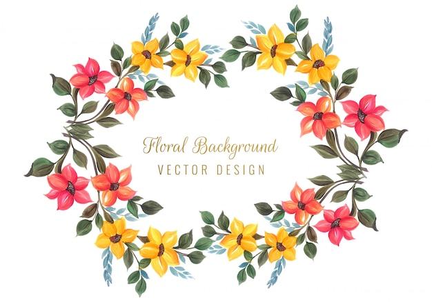 Decorative colorful floral frame design vector Free Vector