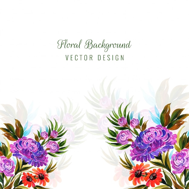 Decorative colorful flowers background vector Free Vector