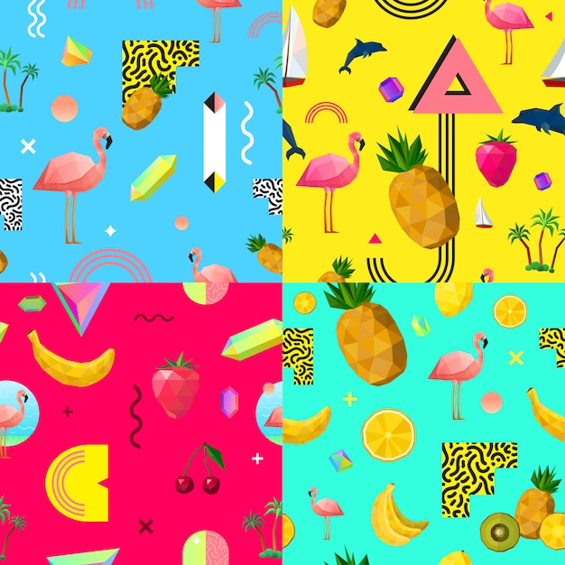 Decorative colorful seamless patterns set Free Vector