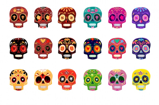 Decorative colorful skulls set day of the dead Premium Vector