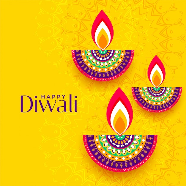 Decorative colorful three diya yellow Free Vector