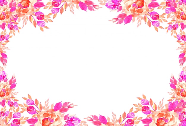 Decorative colorful watercolor flowers card background Free Vector