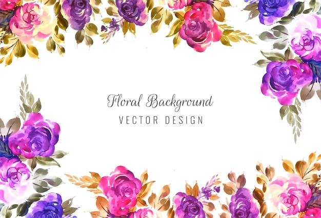 Decorative colorful wedding floral frame background Free Vector