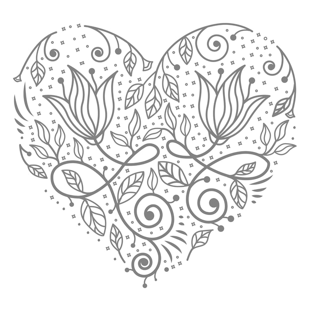 Decorative concept floral heart illustration for abstract Premium Vector