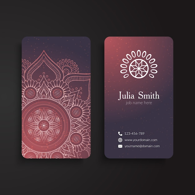 Decorative corporate card with ornaments Free Vector
