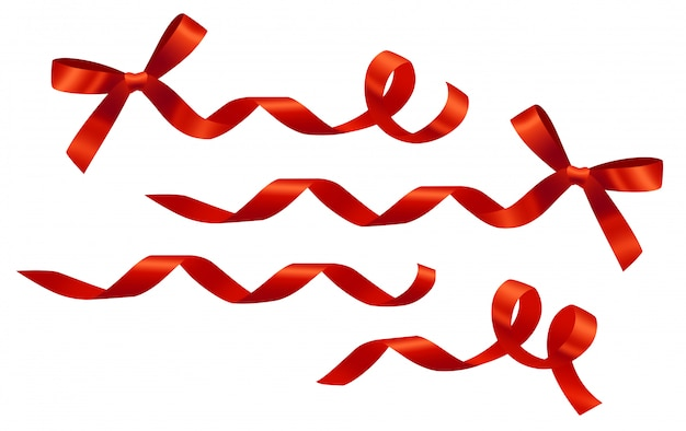 Decorative curled red ribbons and bows set. for banners, posters, leaflets and brochure Free Vector