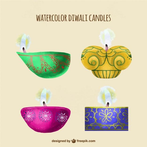 Decorative cute watercolor diwali candles