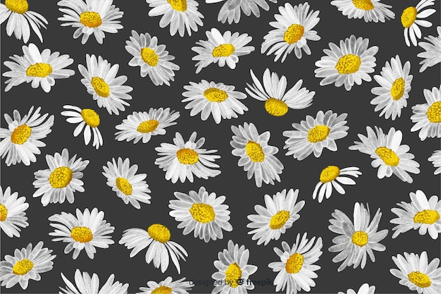 Decorative daisies background watercolor style Free Vector