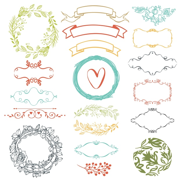Decorative design elements Free Vector