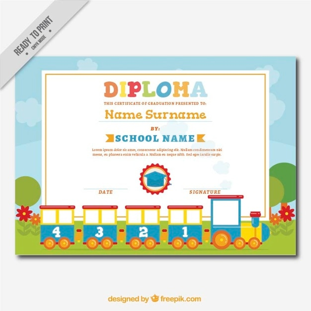 Decorative Diploma For Kids With A Fantastic Train Free Vector  Certificate Of Achievement For Kids