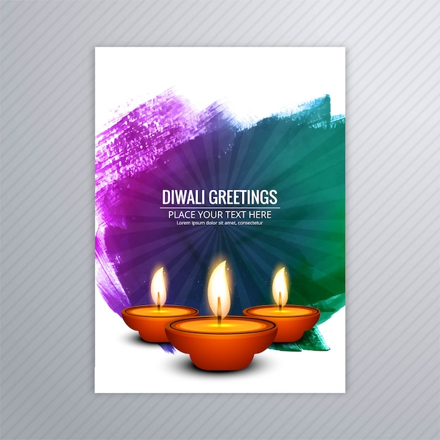 Decorative diwali greeting card template design Premium Vector