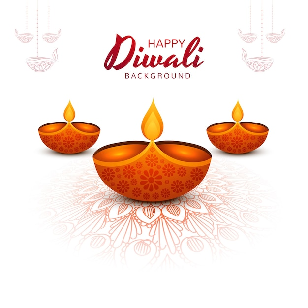 Decorative diwali oil lamp festival holiday background Free Vector