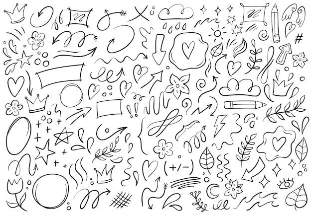 装飾的な落書き。手描きのポインティング矢印、輪郭形状、落書きフレームイラストセット Premiumベクター