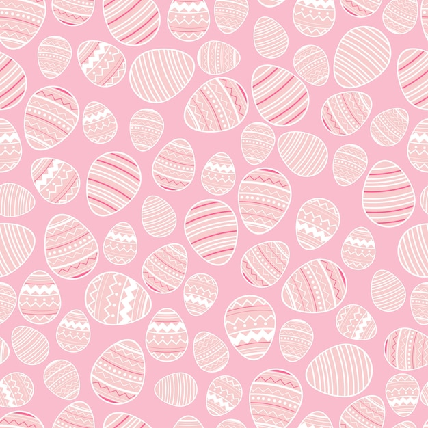 Decorative easter eggs seamless pattern on pink background. Premium Vector