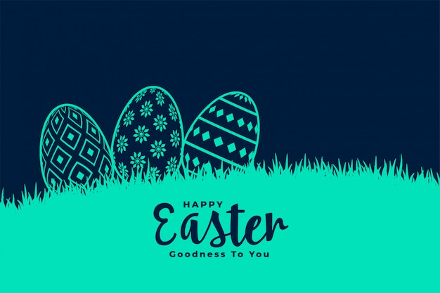 Decorative eggs in grass for easter festival Free Vector