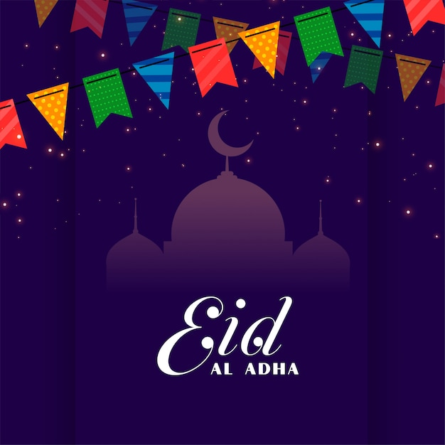 Decorative eid al adha festival greeting Free Vector