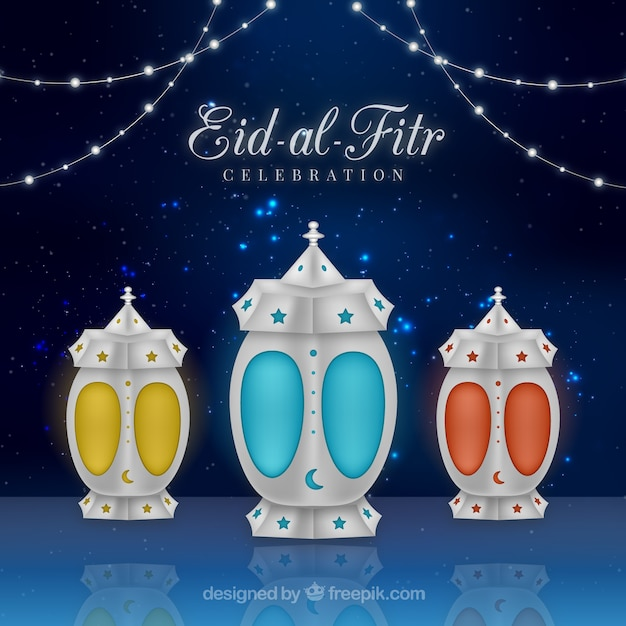 Decorative eid-al-fitr background Vector | Free Download