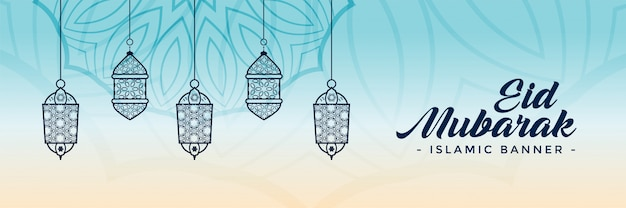 Decorative eid festival lamps banner Free Vector