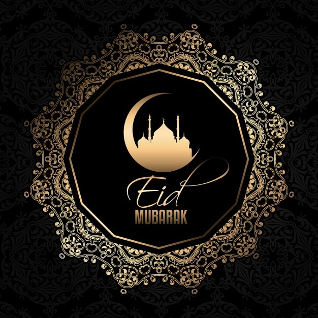 Decorative eid mubarak background Vector  Free Download