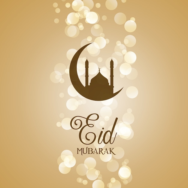 Decorative eid mubarak greeting card Free Vector