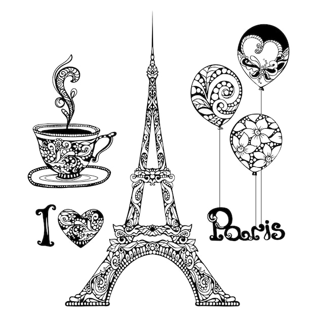 Decorative eiffel tower Free Vector
