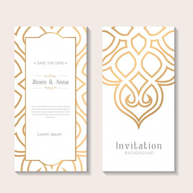 Decorative elegant wedding invitation template Premium Vector
