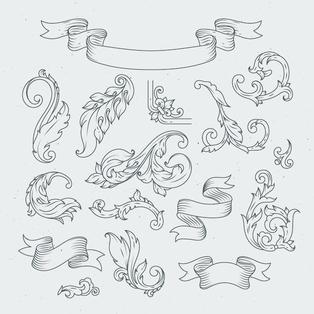 Decorative elements in baroque style. Premium Vector