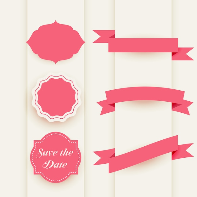 Decorative elements collection with labels and ribbons Free Vector