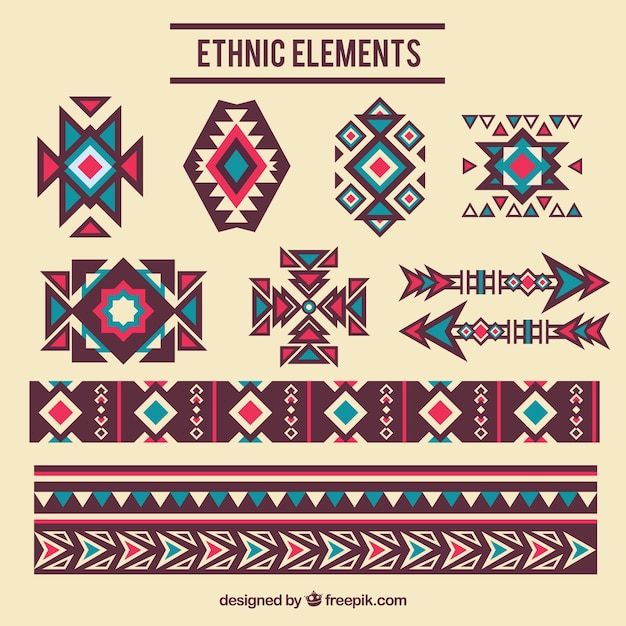 Decorative elements ethnic Free Vector