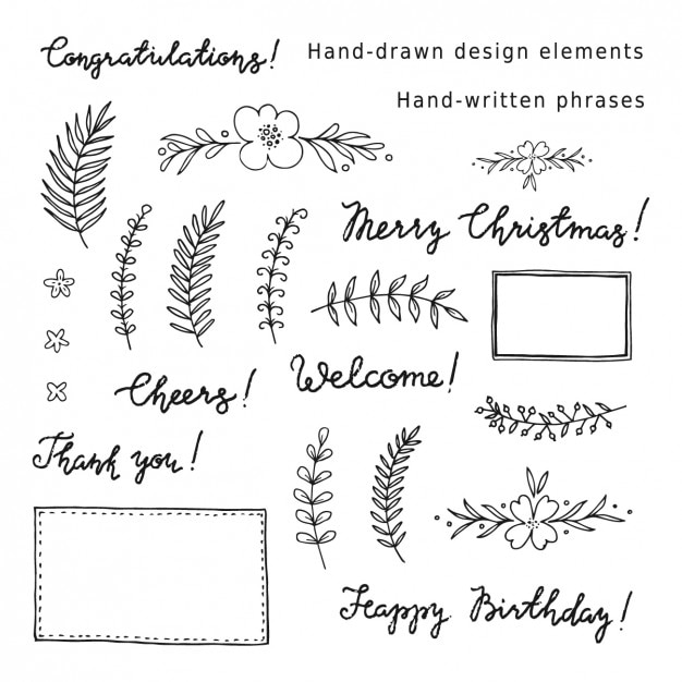 Decorative elements and phrases collection Free Vector