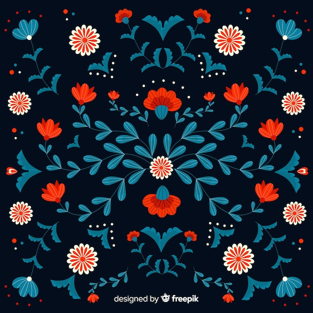 Decorative embroidery mexican floral background Free Vector