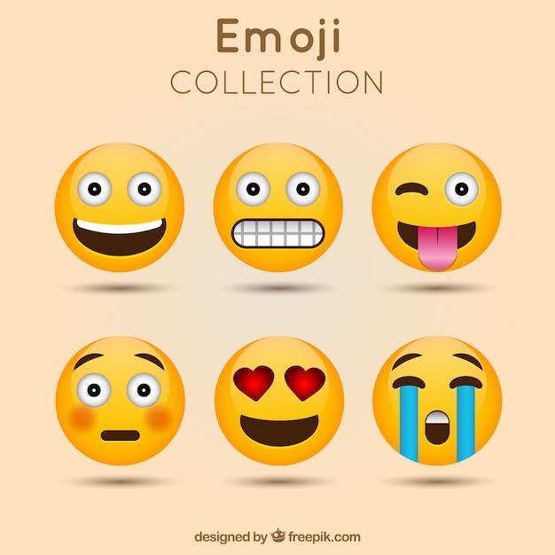 Decorative emoji collection Premium Vector