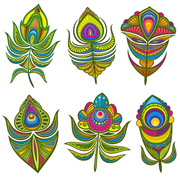 Decorative ethnic peacock feathers set isolated Premium Vector