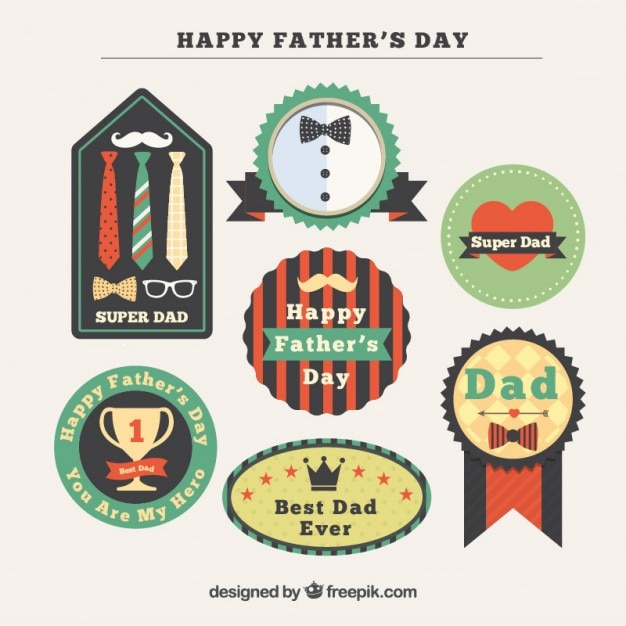 Decorative father's day badges in vintage design
