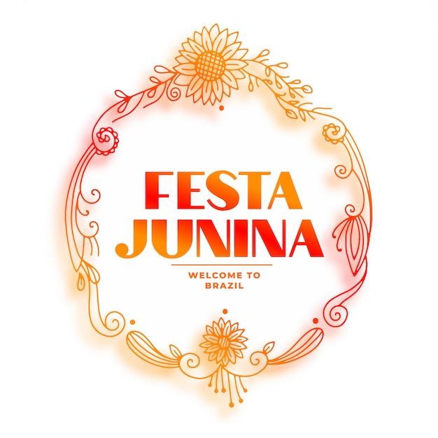 Декоративная рамка для подсолнечника festia junina Бесплатные векторы