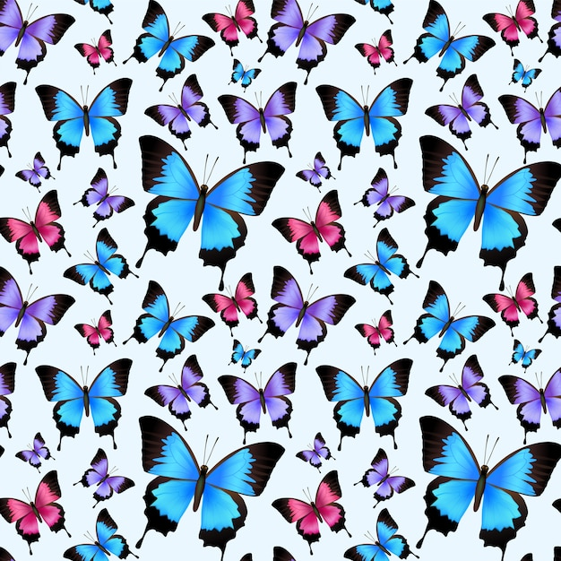 Decorative festive trendy colorful butterflies seamless pattern vector illustration. Free Vector