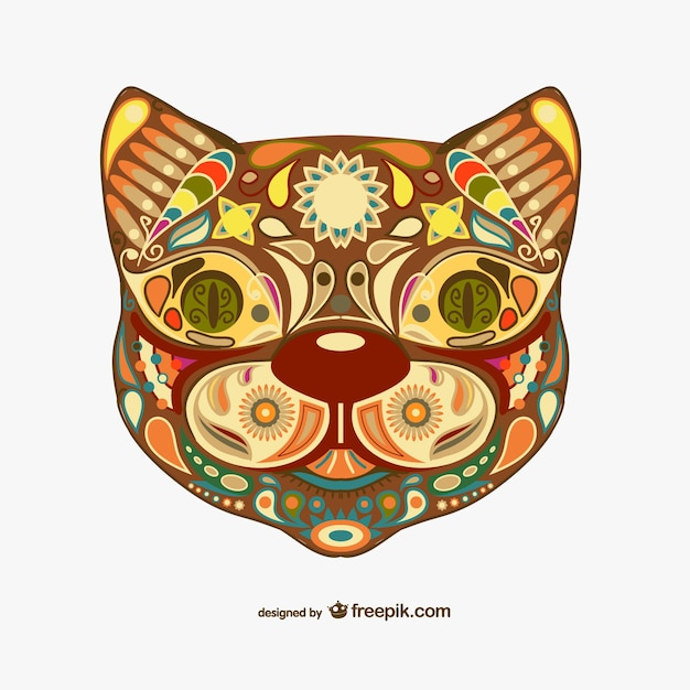 decorative floral cat design vector free download