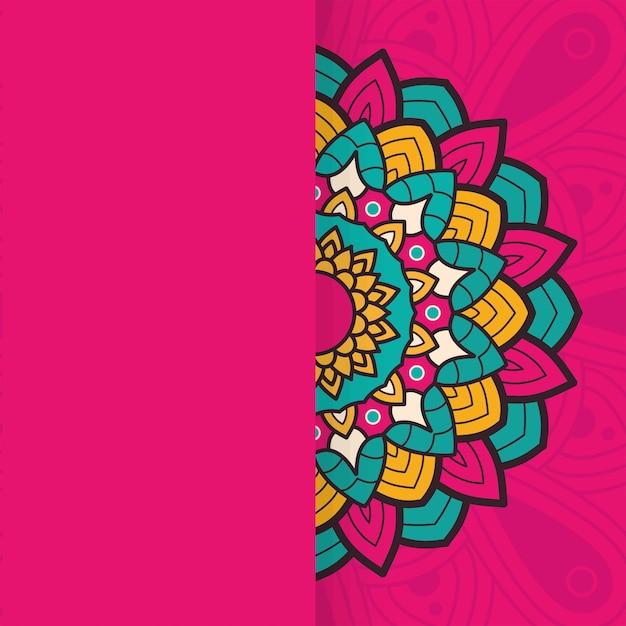 Декоративный цветочный красочный дизайн иллюстрации этнической принадлежности половины мандалы Premium векторы